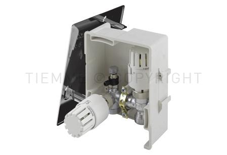 4492C TIEMME BOX 3 per la regolazione del riscaldamento sulla base della temperatura ambiente e la limitazione della temperatura di ritorno del circuito (RTL). Versione cromata